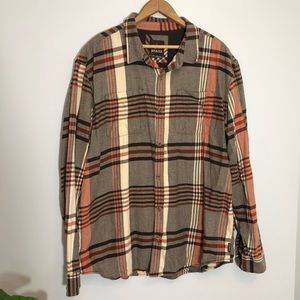 PrAna Men's Brown Flannel Plaid Button Down Shirt